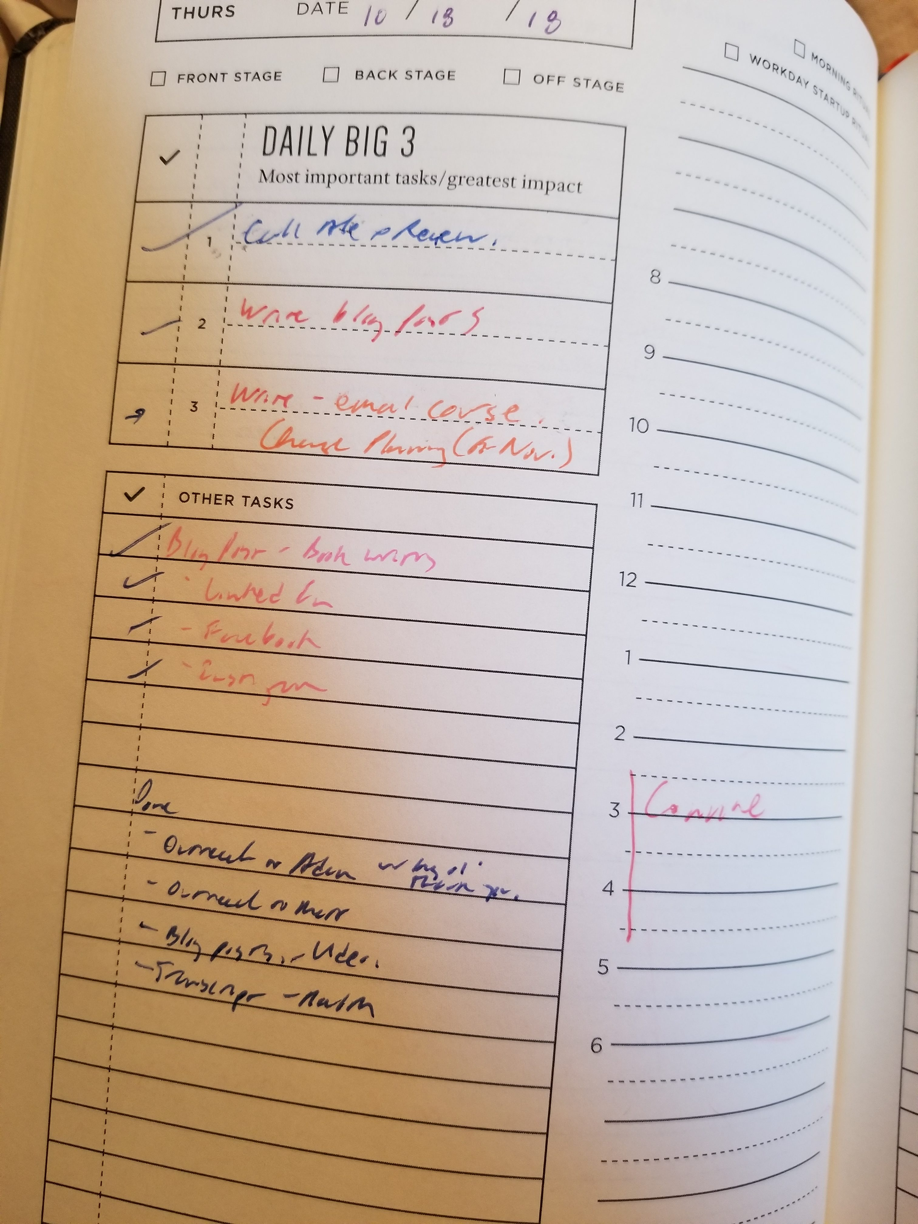 A sample to-do and done page