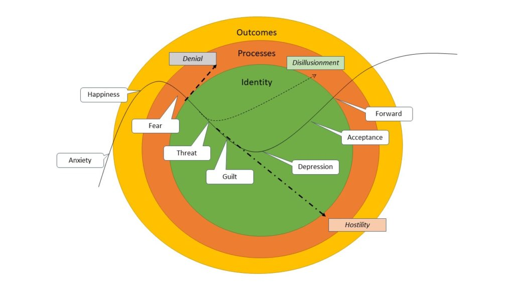 Identity, Processes, Outcomes and the role in the Fisher Change Curve