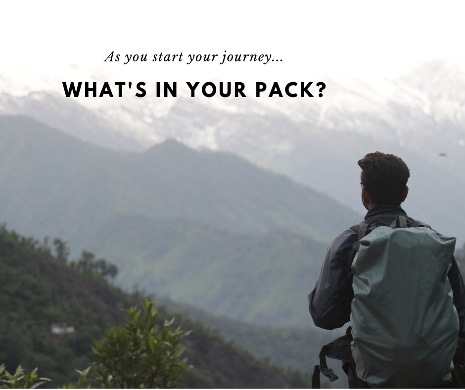 As you start your journey, what's in your pack? Backpacker staring at a mountain range